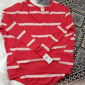 •Free People• Red & White Striped V-Neck Sweater